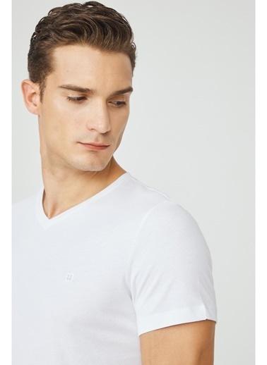 Avva Erkek  Lacivert V Yaka Tişört E001001 Beyaz
